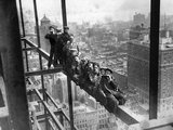 Construction Workers on Scaffolding Above New York