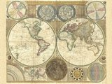 Double hemisphere map of the world, 1794