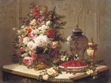 Floral composition on a table (detail)