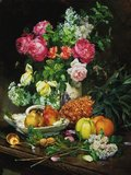 Painting of Roses in a Vase, Pears in a Porcelain Bowl
